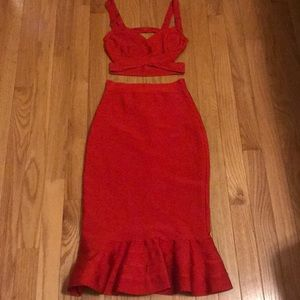 Dresses & Skirts - Femme Fatale red bandage two piece dress set XS